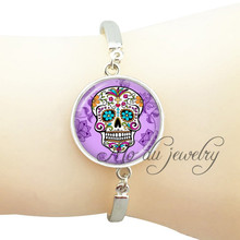 Punk style purple sugar skull bangle cross pendant glass cabochon skeleton pendant steampunk sugar skull jewelry wholesale