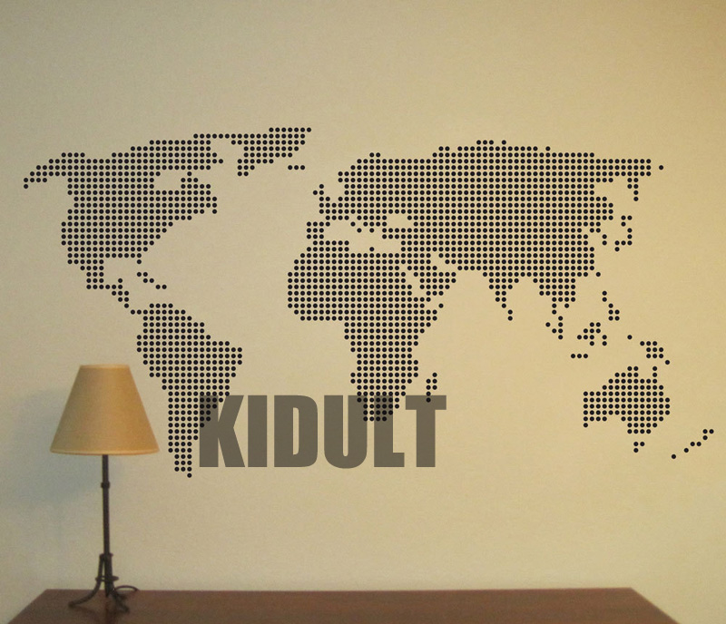 Map Wall Decal Creative World Map Pattern Wall Stickers Vinyl Stickers Home Interior Decoration Creative Backdrop Poster(China (Mainland))