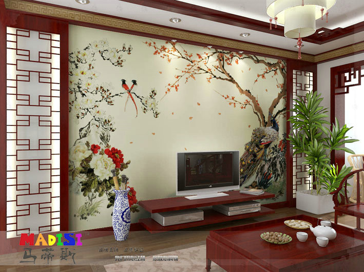 Mural wallpaper tv wall sofa chinese style wallpaper for Chinese wall mural