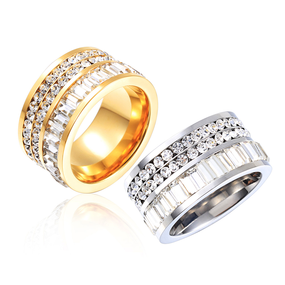 Luxury Female Wedding Engagement Party Ring 316L Stainless Steel 18k Gold Plated Ring Quality Titanium Jewelry CZ Diamond Ring(China (Mainland))