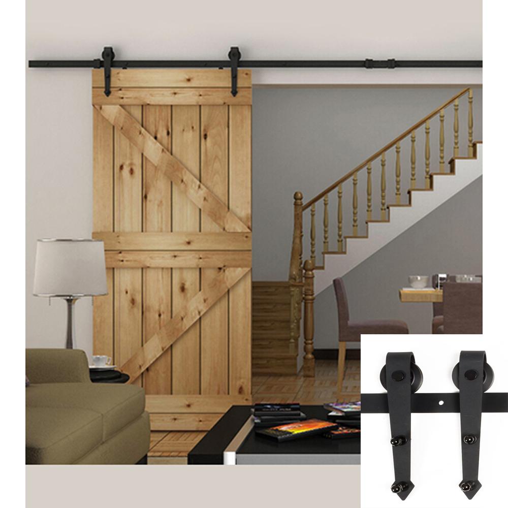 6ft black country american arrow style barn wood steel - Puertas correderas de madera ...
