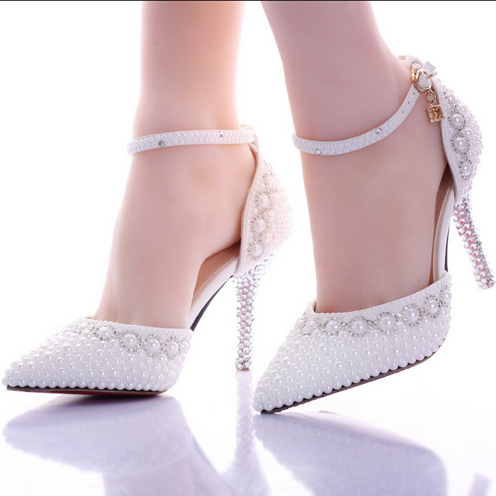 2015 Red/White Pearl Rhinestone Wedding Shoes Ultra High Heels Thin Heels Shoes Pointed Toe Bridal Shoes Crystal Fashion Sandals