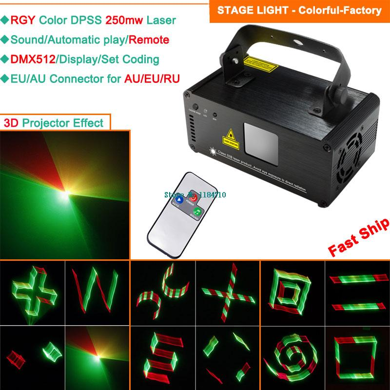 250mw RGY laser 3D Projector remote DMX sound DJ dance bar Xmas Party Disco lighting effect laser Light stage Lights Show B121(China (Mainland))