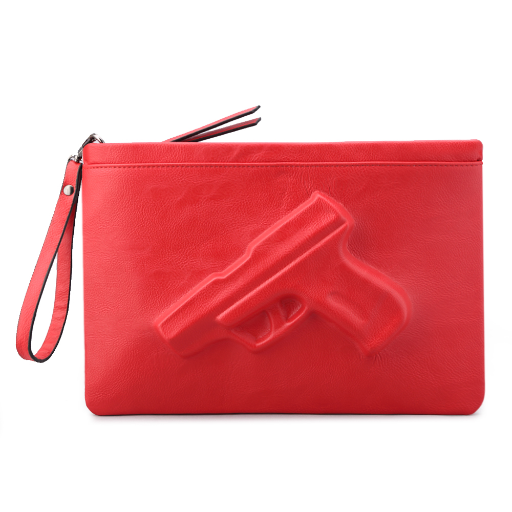 2016 Zula Liu Fashion Women messenger bags 3D gun clutches Pistol bags Red rose color Pu leather shoulder strap casual bag(China (Mainland))