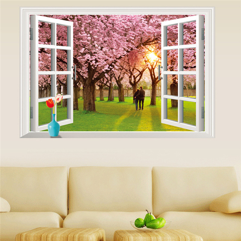 Fake Window Wall Decals Cherry Blossoms Lavender Pegatinas Infantiles Living Room 3D Landscape Wallpaper Fake Window