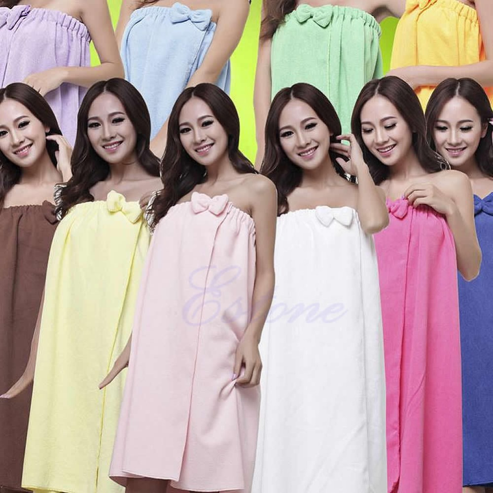 Free Shipping Women Absorbent Microfiber Fleece Shower Spa Body Wrap Bath Towel 145x75cm(China (Mainland))