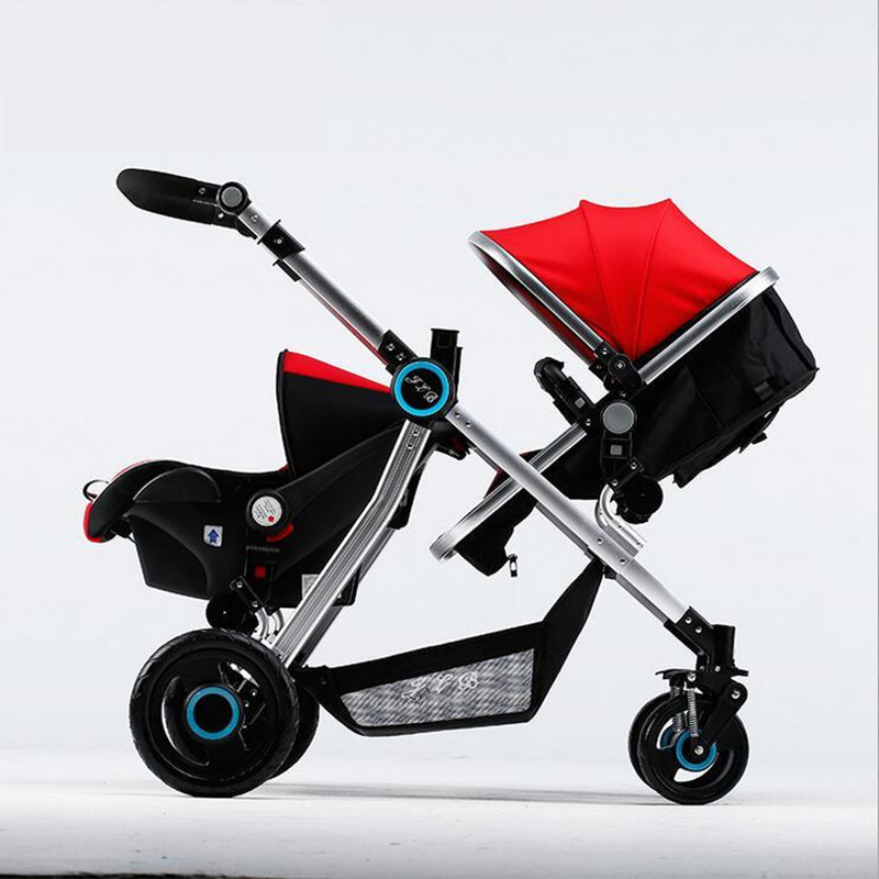 Safe and Comfortable Baby Twin Stroller 3 in 1 Function Twins Pushchairs Infant Basket-style Safety Seat Foldable Baby Four Cart