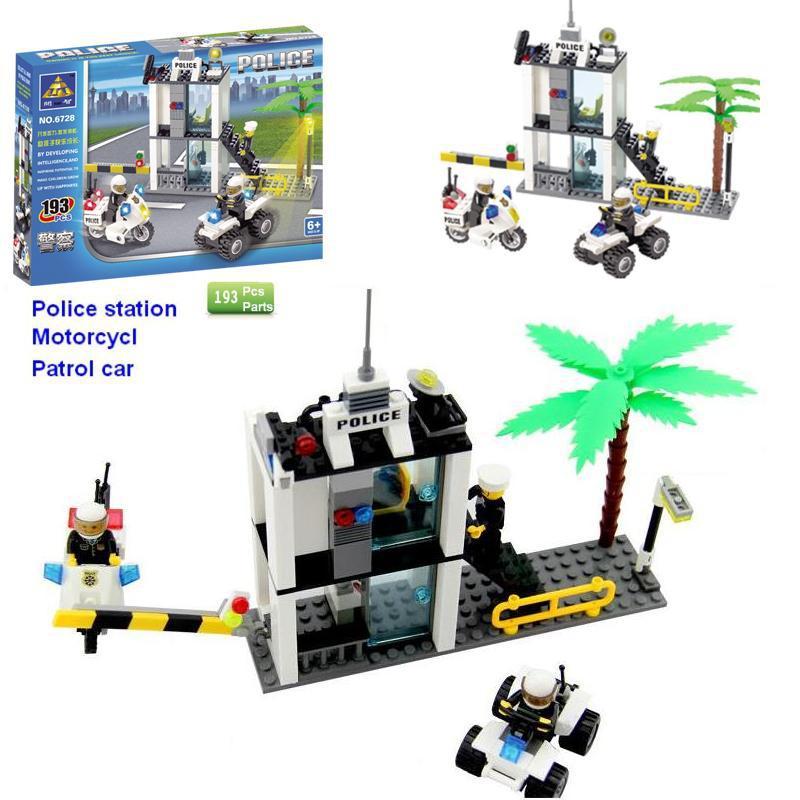 New 2015 Boys Model Building Kits Police Station Motorcycle Patrol car ,Boy Education Toys Wholesale retails 32-14(China (Mainland))