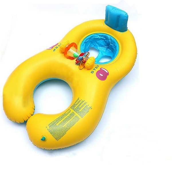 Soft material Inflatable Mother Baby Swim Float Raft Kids Chair Seat Double Person Swimming Ring Pool(China (Mainland))