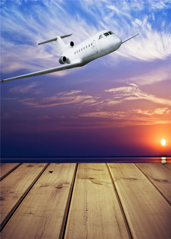 Airplane Photography Backdrops Children Photo Studio Vinyl 5x7ft or 3x5ft Sky Photo Props Baby Background JieQX466(China (Mainland))