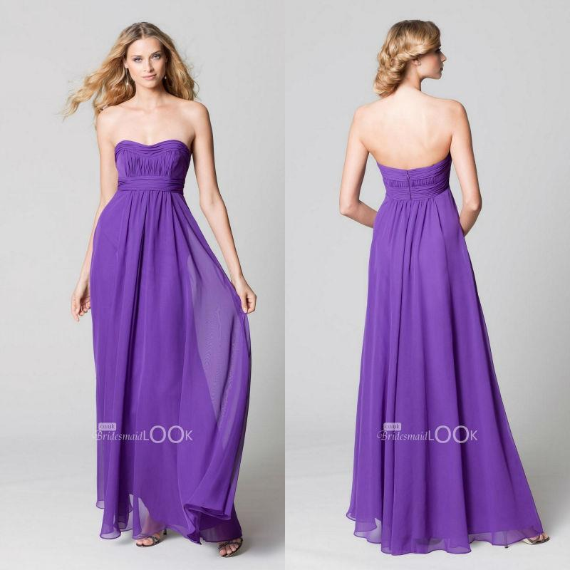 Beach Wedding Dresses In Purple : Purple beach style long high waistline pleat strapless