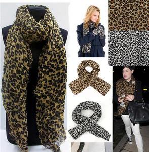 Wholesale 6pcs 2 colors Fashion 1pc Sexy Top Quality Ladies Leopard Chiffon Long Scarves Shawl Wrap 261159-261160