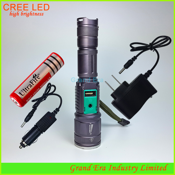 USB rechargeable flashlight 2000 lumen cree super bright can use power bank Charger 18650 Battery B028 - Grand Era Industry Limited. store