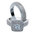 Fashion Women Engagement Ring Set Austrian Crystal White gold color Full Size White Zircon Ring Sets