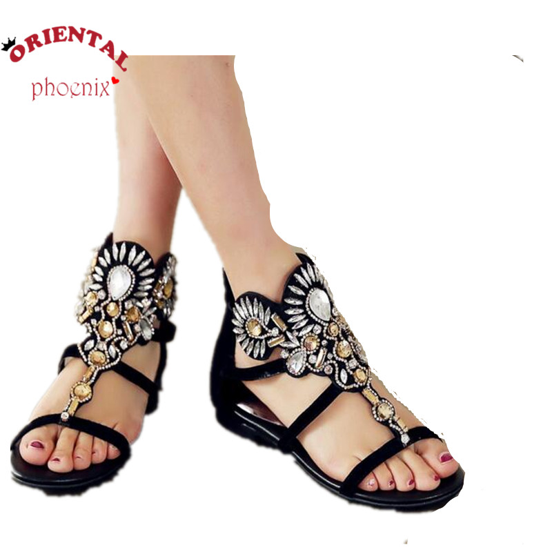 Black sexy T  womens genuine leather sndals 2016 rhinestone luxury slip flops ummer shoes female comfortable plat sandals<br>