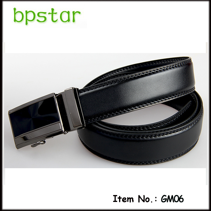 High quality men's leather belt genuine leather cowboy belt black real leather belt with automatic buckle width 3.4cm(China (Mainland))