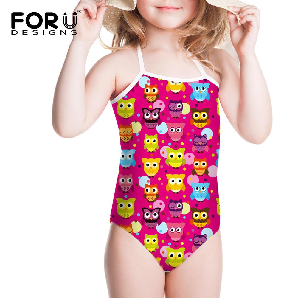 2016 New Summer Children One-piece Owls Swimsuit Girl Children Cute Cartoon Owl Swimsuits Bathwear Sport Swimwears for Baby 3-8Y(China (Mainland))