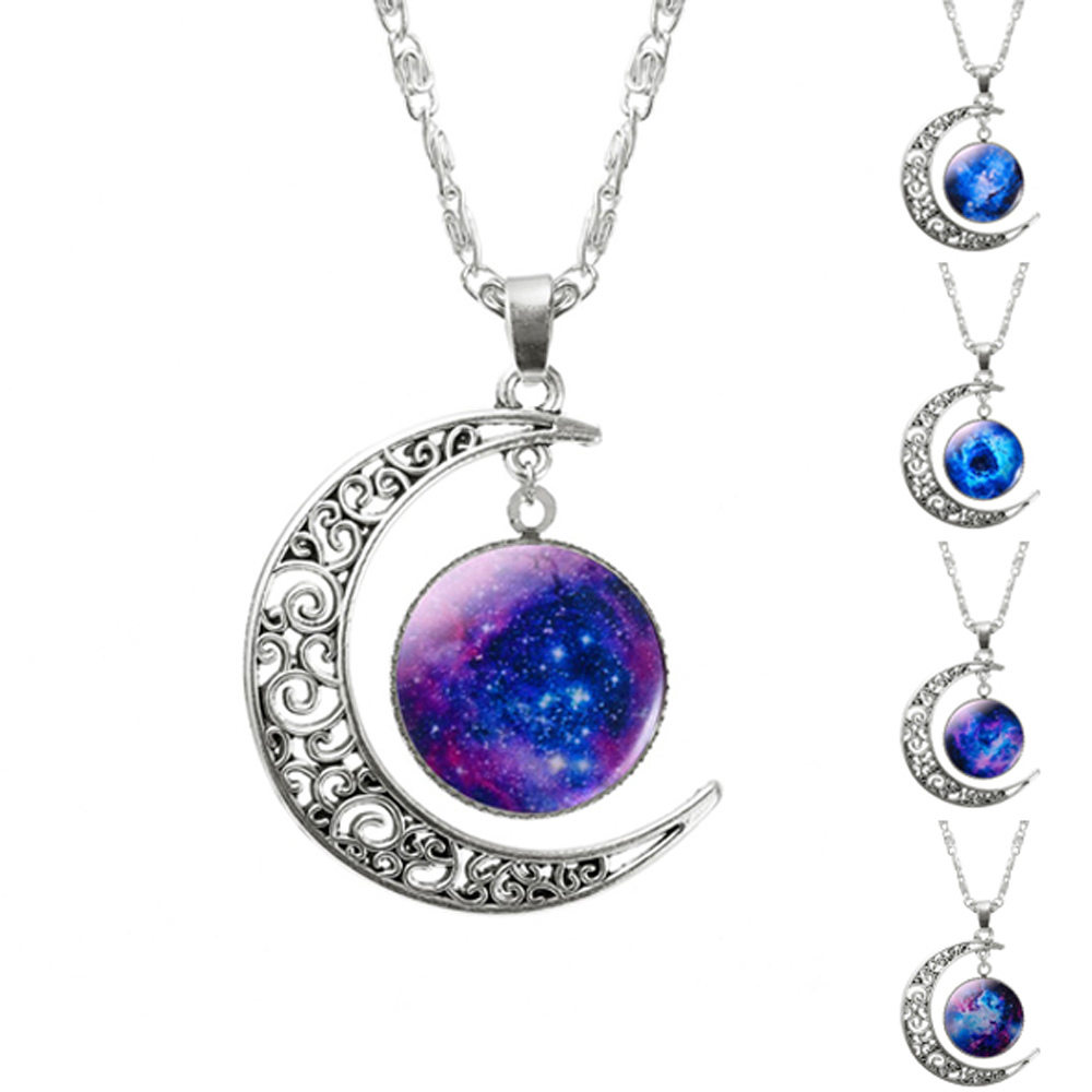 2016 New Hot Fashion Jewelry Choker Necklace Glass Galaxy Lovely Pendant Silver Chain Moon - Yiwu Alan Technology Co., Ltd. store