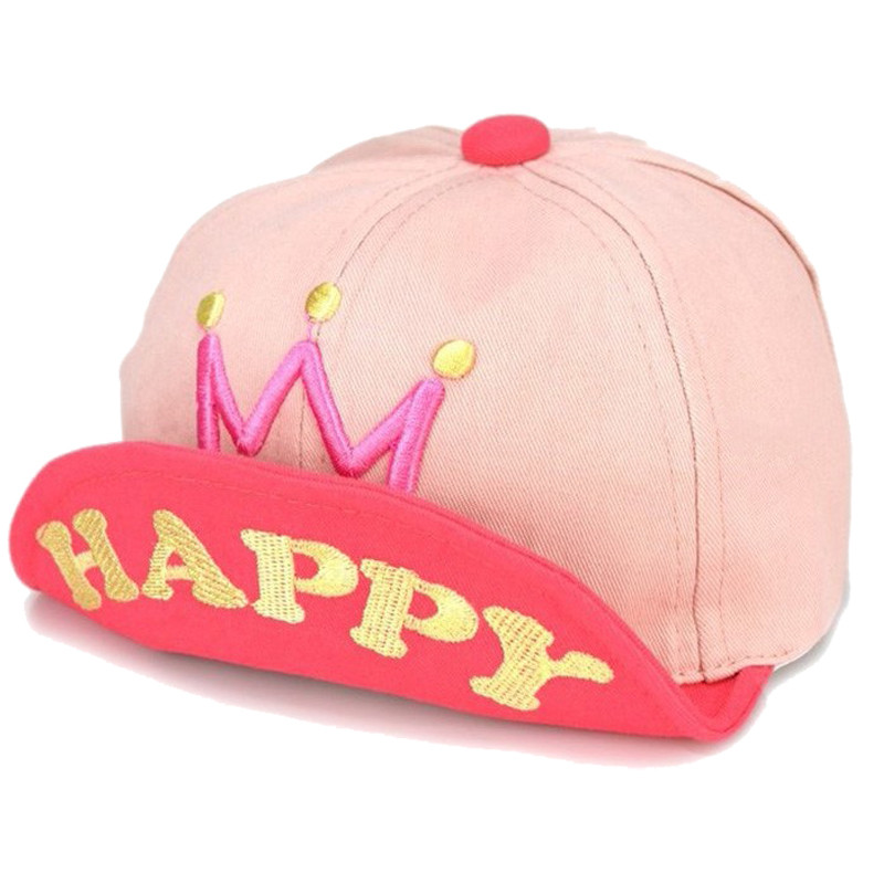 Baby Boys Girls Baseball Caps Flanging Crown Hats Happy Letter Infant Hat Toddler 1-3 Years Snapback Outdoor Sport Sun Cap(China (Mainland))