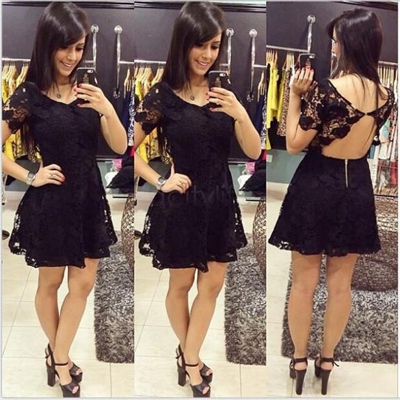 2015 Summer Vestidos De Fiesta Women Fashion Classic Solid Black O-Neck Backless Short Sleeve Lace Pleated Dress 55(China (Mainland))
