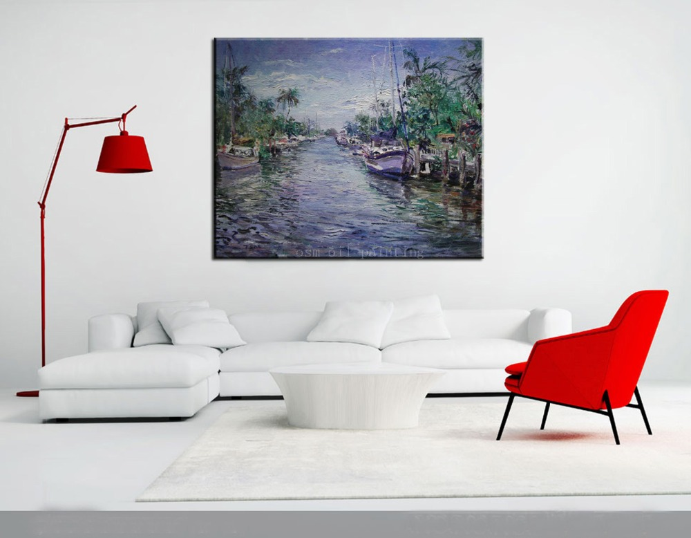 Buy Venice Of America Seascape Knife Oil Painting on Canvas Handmade Wall Art Decor Modern Abstract Knife Landscape The Boats Paints cheap