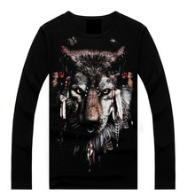 Hot Wholesale Men's Fashion Animal 3D Printed Long Sleeve T-shirt In Bulk(TYA-MT-15027)