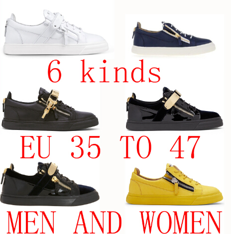 hot sell Original Logo 6 kinds of Fashion Sneakers Unisex women shoes for men Genuine Leather Double Zipper good quality sneaker(China (Mainland))