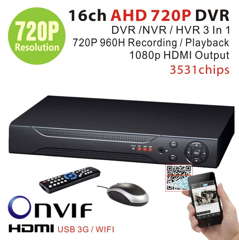Home Surveillance 16ch 720p full 960H DVR HDMI 1080P 16channel DVR NVR For security IP camera onvif CCTV DVR Recorder 3531chips(China (Mainland))