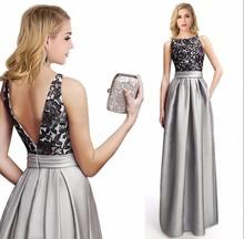 Fashion Satin Black Spitze Grau Lange Abendkleider 2016 Robe Soiree Longue Femme Avondjurken Lange Kleid Robe de Soiree(China (Mainland))