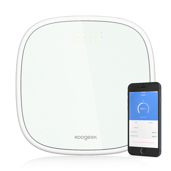Koogeek Smart Wireless Bluetooth 4.0 Digital Body Weight Scale 16 Users Recognition with Ultra Clear Glass LED Display App