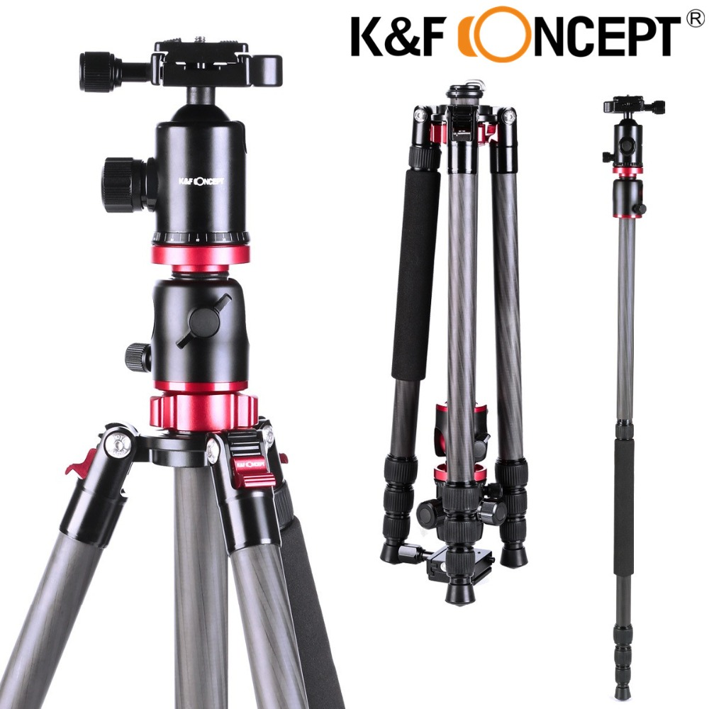 K&F CONCEPT TC2534T Camera Tripod 4-Sections Lightweight Tripod of Carbon Fiber with Ball Head+PE bag For Sony/Nikon/Canon DSLR(China (Mainland))