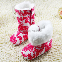 2015 Warm Winter Baby Girls Ankle Snow Boots Infant Shoes Red Antiskid Baby Shoes First Walkers