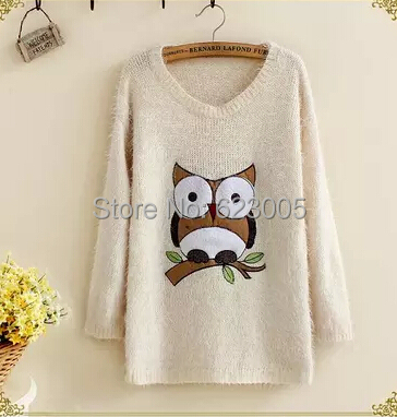 Cartoon Owl sweater autumn and winter pullover all-match preppy style seahorse wool sweater female(China (Mainland))