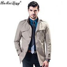 Men's Long Trench Coat Jacket Lapel Classic Design 2016 Autumn New Men's Business Casual Trench Coat Men Khaki Jacket Overcoats(China (Mainland))