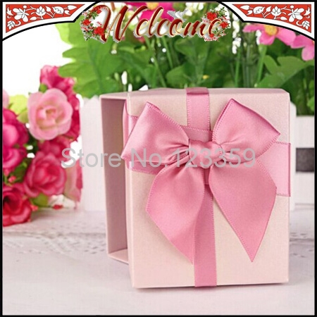 3Pink Bowknot Ribbon Wedding box Candy Box Favors decoration Party Gift 8.5*7*4cm - John Qin's store