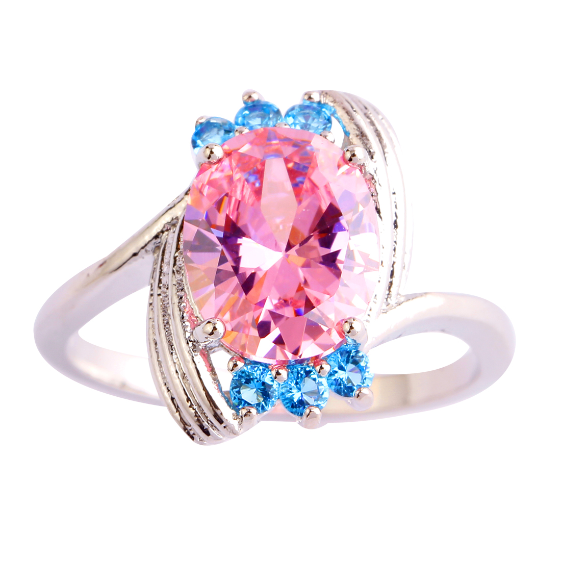Fashion Flawless Round Cut Women Rings Pink Blue Topaz 925 Silver Ring Size 6 7