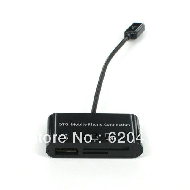 Free Shipping Micro USB OTG smartphone hub card reader adapter Galaxy S2 Motorola