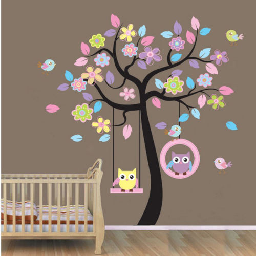 New Owls Bird Swing Flower Tree Wall Stickers Art Mural Decal Kids Nursery Decor(China (Mainland))