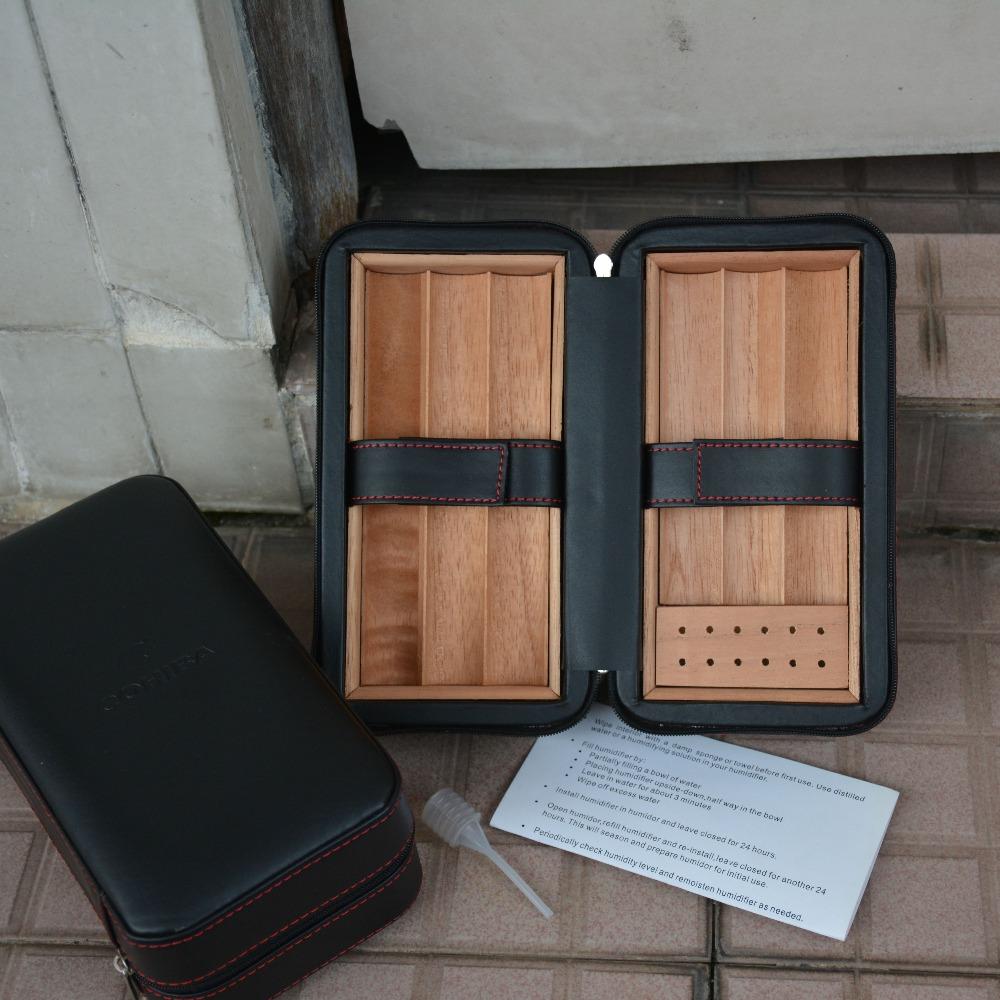 COHIBA Travel Cigar Case Black Leather and Cedar Wood Lined Box Mini Humidor for 6 Cigars(China (Mainland))