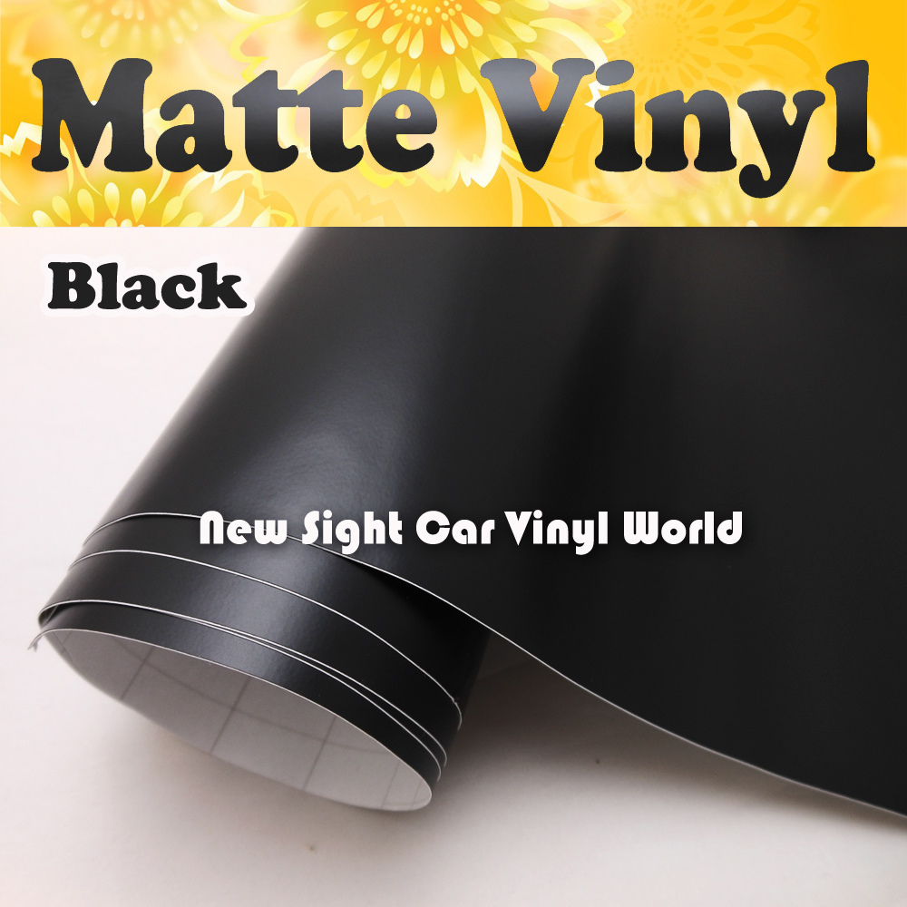 High Quality Black Matt Car Wrap Vinyl Film Matte Black Vinyl Wrap Bubble Free Car Wrapping Size:1.52*30m/Roll(China (Mainland))
