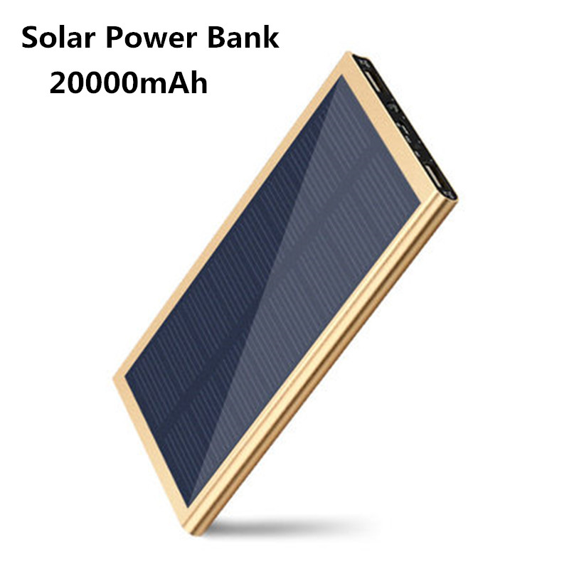 20000mAh Ultra-Thin Matal Dual USB Port Solar Power Bank External Battery Pack Portable with LED Lamp Illumination free shipping(China (Mainland))
