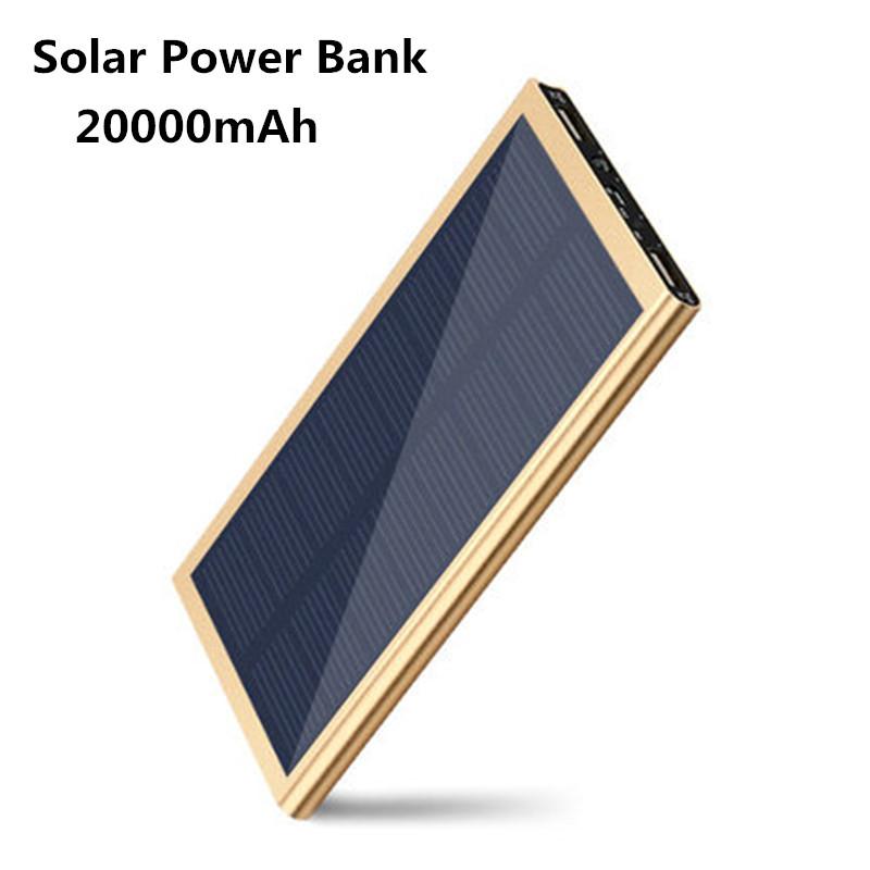 20000mAh Ultra-Thin Matal Dual USB Solar Power Bank External Battery Pack Charger with LED Lamp Illumination free shipping(China (Mainland))