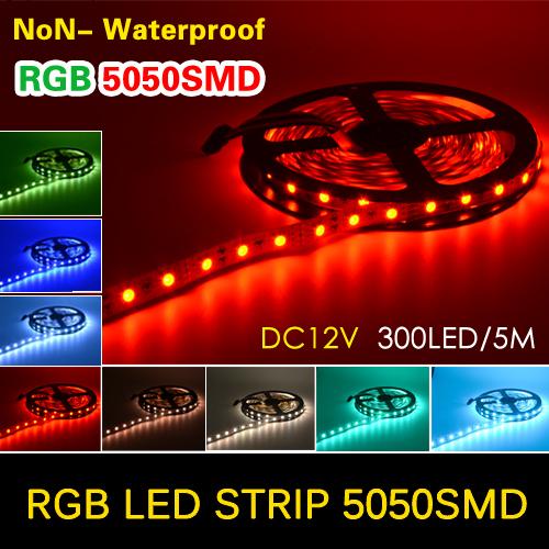 300LEDs 5050 SMD LED Strip Flexible light DC12V 60LEDs/M More Bright than 3528, Red, Green, Blue, White, Warm White, RGB(China (Mainland))