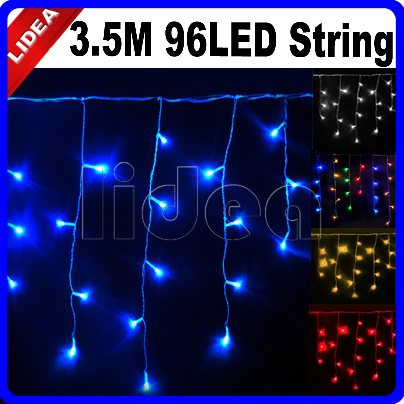3.5M 96 LED Party Garden Holiday Wedding New Year Christmas String Icicle Outdoor Decoration Curtain Garland Fairy Light CN C-15(China (Mainland))