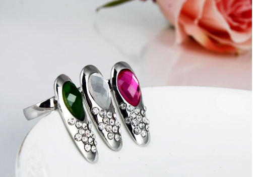 Special Offer NEW SILVER DIAMANTE NAIL ART FINGER TIP RING CLAW FASHION GOTHIC PUNK EMO ROCK 3PCS/LOT(China (Mainland))