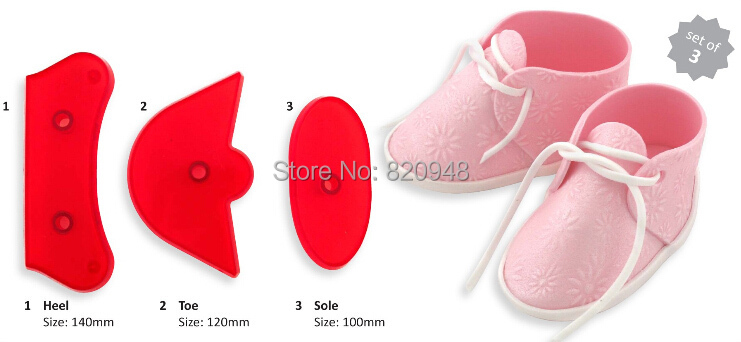 Cake Cutter 1 set Baby Birthday Shoes bootee Cookie Cake Fondant Decorating Plastic Cutter Mold Baking pastry Fondant Tools(China (Mainland))
