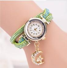 Cristal relojes mujer 2015 estilo europeo reloj luna nueva cadena larga de la joyería vestido de punto ocasionales Long cuero reloj de cuarzo