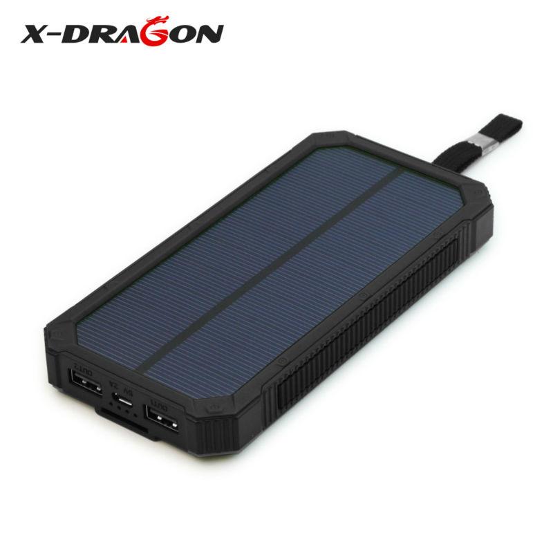 X-DRAGON 15000mAh Solar Battery Charger Power Bank Dual USB Portable Solar Charger for ihone Samsung ipad YOGA Tab GPS & More(China (Mainland))