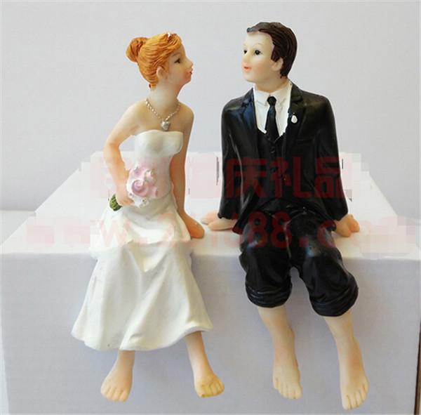 buy whimsical wedding cake topper barefoot sitting
