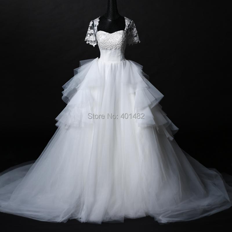 2016 Real Sample A-line Sweetheart Neckline Appliques Detachable Tulle Long Train Wedding Dresses - Elaine Fashion --- 100% Satisfaction store